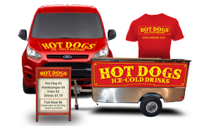 hot dog cart signs, graphics and apparel