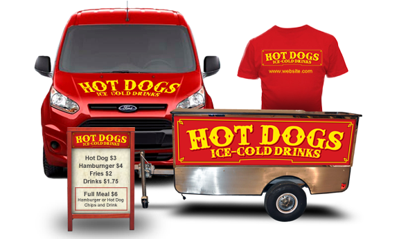 menus, vehicle wrap and custom tshirt