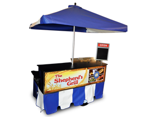 hot dog cart umbrellas