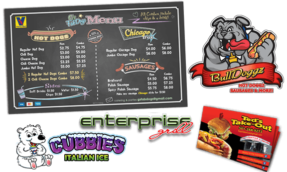 custom hot dog cart signs