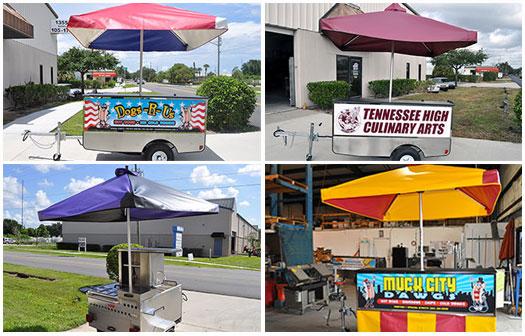 hot dog cart umbrellas